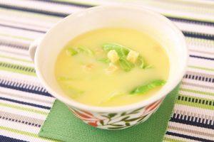 春キャベツのコーンスープ