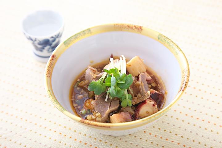 砂肝とタコのピリ辛ポン酢タレ