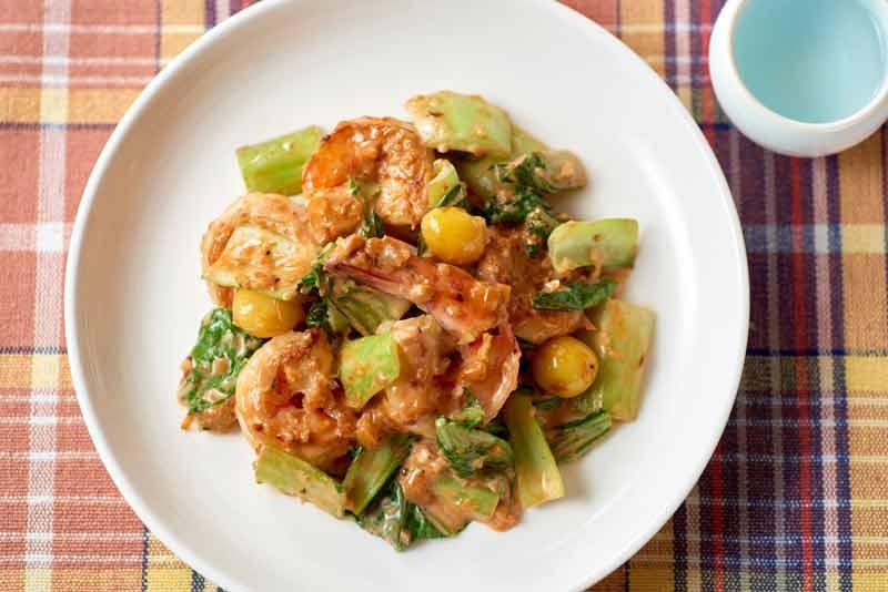 エビと青梗菜のオーロラソース
